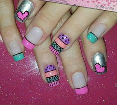 Uñas Nail Polish Designs, Cool Nail Designs, Shellac Nails, Toe Nails, Indian Nails, Finger, Nail Patterns, French Tip Nails, Nail Decorations