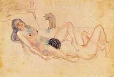 Pablo Picasso, Two nudes and a cat, 1903