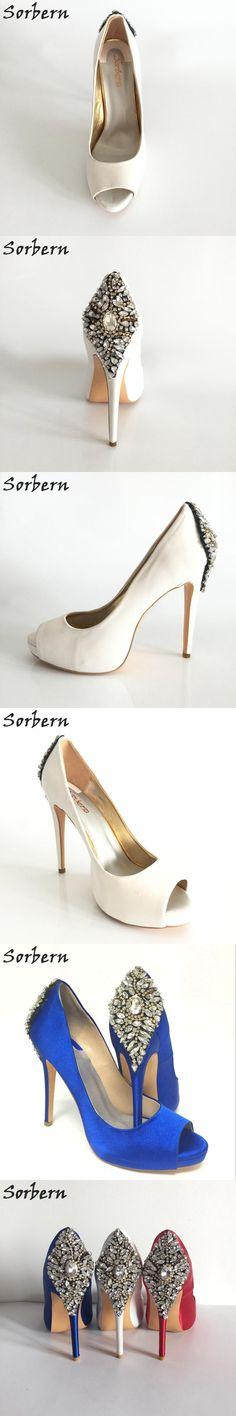 Royal Blue Satin Open Toe Rhinestone Back Wedding Shoes Pumps Stilettos sapato para noiva Shoe Slip-on Sandal For Women Real