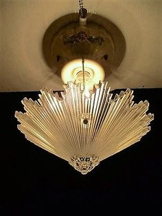 C.30\'s Vintage Art Deco Ceiling light fixture Chandelier American ...