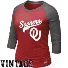 Nike Oklahoma Sooners Womens Vault Premium Raglan T-Shirt - Crimson-Charcoal     @Fanatics ®  #Fanaticswishlist