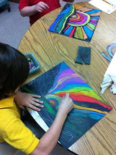 This is a beautiful project! First we studied Ted Harrison, Canadian artist....looked at his work...created a landscape using repeating line...