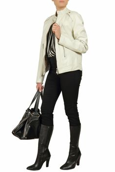 New in - Burberry White Leather Jacket at Starbags.eu