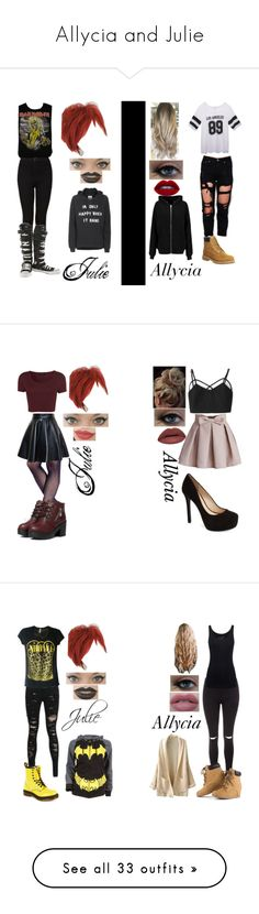 """Allycia and Julie"" by psycho-alien-deer05 ❤ liked on Polyvore featuring Timberland, Wet Seal, Ultimate, BLK DNM, Zoe Karssen, Topshop, Converse, Chicwish, Jessica Simpson and Vince Camuto"