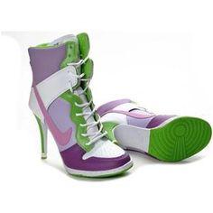 hot sale online 6b1fd 70387 Nike Dunk High Heels GreenPurpleWhite