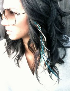 Turquoise Feather Hair Extension