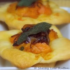 Butternut Squash Tarts with Caramelized Onions and...