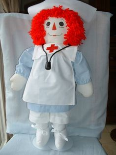 Raggedy Nurse Cloth Doll 25 Collectible  by TheHumbleSeamstress,