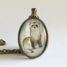 Ferret  Watercolor Art Pendant Necklace by TresAudra on Etsy, $32.00