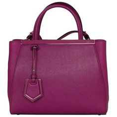 Preowned Fendi Magenta Pink 2jours Petite Saffiano Shopper Tote Bag ($1,225) ❤ liked on Polyvore featuring bags, handbags, tote bags, red, pink purse, red tote, stripe tote, purple tote bag and shopping tote
