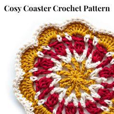 Ravelry: Cosy Crochet Coaster pattern by Judith Heller Crochet Coaster Pattern, Crochet Motif, Crochet Doilies, Knit Crochet, Crochet Patterns, Crochet Books, Crochet Home, Cute Crochet, Easy Crochet