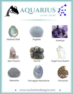 Aquarius Healing Crystals by Soul Sisters Designs Healing Crystals associated with each of the 12 Houses of the Zodiac compiled into individual graphics to make learning your Zodiac's crystals easy! Crystal Healing Stones, Crystal Magic, Healing Crystal Jewelry, Crystal Grid, Quartz Crystal, Chakra Crystals, Crystals And Gemstones, Stones And Crystals, Spirit Quartz