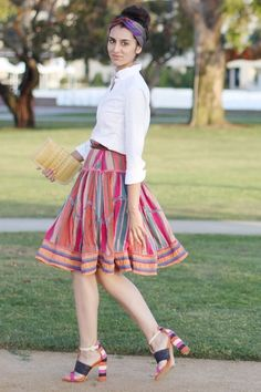 Just got a similar looking skirt from the thrift store. Totally pairing it with a white button up! via http://eloraaaaa.blogspot.com/