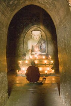 buddhist monk praying at temple to buddha in bagan with candles,AsiaPhotoStock Buddha Zen, Buddha Buddhism, Buddhist Monk, Buddhist Temple, Buddhist Art, Gautama Buddha, Dalai Lama, Altar, World Religions