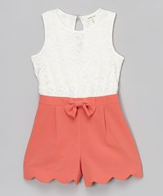 Monteau Girl White & Coral Floral Lace Romper
