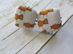 Button Earrings Fabric Earrings Bird by BrownBeaverBeadery on Etsy