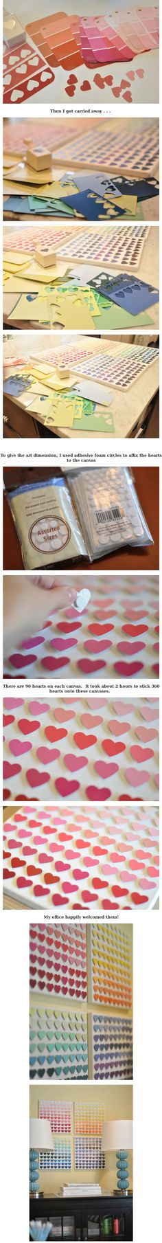 DIY Hearts Shaped Paint Chip Art  this is ridiculously cute....definitely doing something like this for the dorm(: