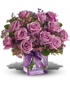 Teleflora's Morning Melody with Lavender Roses Flowers My Flower, Pretty Flowers, Silk Flowers, Flower Art, Lavender Roses, Purple Roses, Rose Violette, Rose Arrangements, Arte Floral