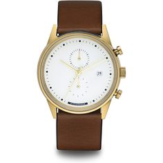 HYPERGRAND Maverick Chrono Gold White W Classic Brown ($320) ❤ liked on Polyvore featuring jewelry, watches, classic brown, brown gold jewelry, water resistant watches, leather-strap watches, gold wristwatches and gold watches