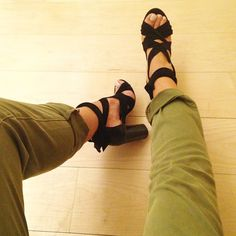 army green pants and lace up sandals