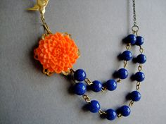 Statement Necklace,Orange Flower Necklace,Bridesmaid Jewelry,Nautical Style Necklace,Summer Wedding Jewelry,Spring (Free Matching Earrings)