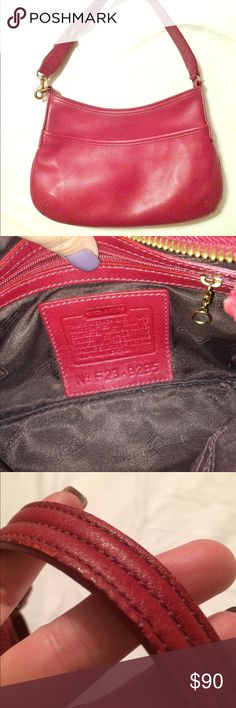 Blood red Coach leather hobo Get ready to turn heads with this gorgeous, gently used blood red leather Coach mini hobo. Featuring gold-toned hardware and a black lining, this beauty is big enough for a wallet, cell phone, compact and your keys.  It has an exterior pocket and a zippered interior pocket as well. There is some minor wear on the adjustable strap, and a slight crease on the exterior (the flash makes it look like a scratch, but it's not). This succulent red color is perfect for…