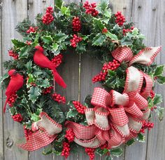 Wreath, Red Bird Christmas Wreath, Cardinal Christmas Wreath with Berries and Holly, Rustic Check Ribbon Wreath with Red Berries by HornsHandmade on Etsy https://www.etsy.com/listing/165733586/wreath-red-bird-christmas-wreath