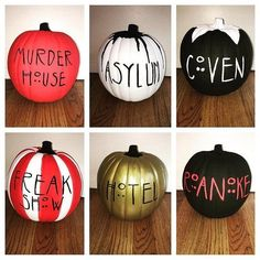 *Hand-painted American Horror Story themed pumpkins for all of my fellow AHS fanatics! Halloween Pumpkins, Fall Halloween, Halloween Crafts, Happy Halloween, Halloween 2020, Halloween Costumes, Halloween Queen, Halloween Couples, Halloween Carnival