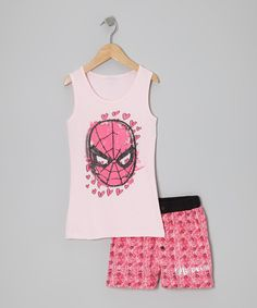 Take a look at this Pink Spider-Girl Tank Pajama Set - Girls on zulily today!