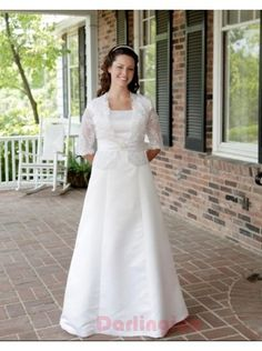 Simple A-Line Satin Modest Bridal Gown With 3/4 Length Sleeve Lace Jacket