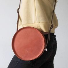 Minimal round leather bag by ANNABOONE