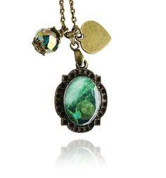 Vintage Antique Bronze Swarovski Crystal Green Cosmic Galaxy Resin Pendant Necklace
