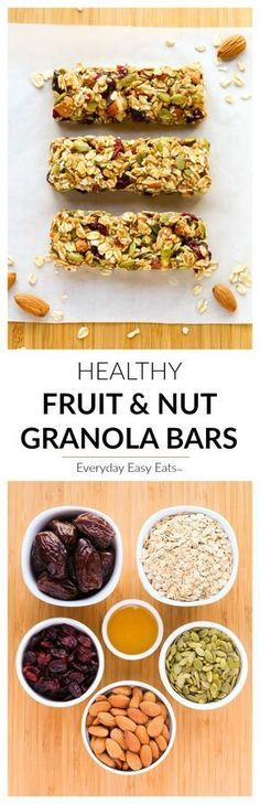 This No-bake, Healthy Fruit and Nut Granola Bars recipe is made with just 6 ingredients. These homemade granola bars are as tasty as they are nutritious! No Bake Granola Bars, Healthy Granola Bars, Healthy Bars, Healthy Snacks, Healthy Eating, Healthy Recipes, Delicious Recipes, Easy Eat, Healthy Fruits