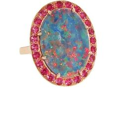 Andrea Fohrman Oval Australian Opal Ring With Red Spinel ($3,900) ❤ liked on Polyvore
