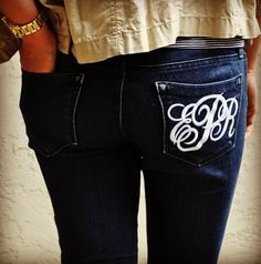 monogramed jeans