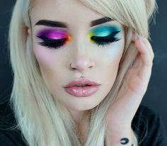 Get Ready for the Weekend With This Colorful Makeup Trend Rainbow Eyeshadow Colorful Makeup ready Trend weekend Makeup Goals, Love Makeup, Makeup Inspo, Makeup Art, Makeup Inspiration, Hair Makeup, Makeup Ideas, Crazy Makeup, Perfect Makeup