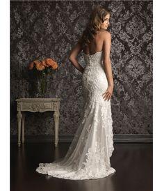 2013 Allure Bridal (back)- White Lace Applique & Charmeuse Satin High Low Wedding Dress - Unique Vintage - Prom dresses, retro dresses, retro swimsuits.