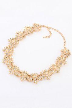 Antique Flower Bib Necklace