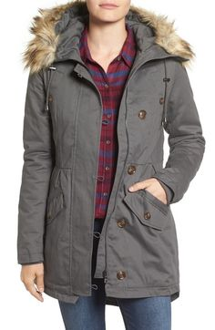 Sam Edelman Twill Pleat Skirt Parka with Faux Fur Trim Hood (Online Only) available at #Nordstrom