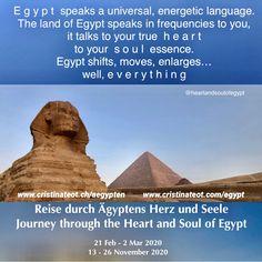 🇨🇭Ägypten spricht eine universelle, energetische Sprache. Das Land Ägypten spricht in Frequenzen, direkt in dein wahres H e r z, in deine S e e l e n Essenz. Ägypten transformiert, bewegt, erweitert… na ja, a l l e s 🇪🇬Egypt speaks an universal, energetic language. The land of Egypt speaks in frequencies to you, it talks to your true heart, to your s o u l essence. Egypt shifts, moves, enlarges… well, e v e r y t h i n g Spirituality, Journey, Travel, Heart And Souls, Country, Language, Destinations, Viajes, The Journey