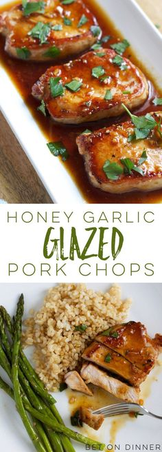 garlic glazed pork chops are quick and easy - perfect for busy weeknights - and that sweet, saucy glaze is a crowd-pleaser!Honey garlic glazed pork chops are quick and easy - perfect for busy weeknights - and that sweet, saucy glaze is a crowd-pleaser! Honey Garlic Pork Chops, Honey Glazed Pork Chops, Glaze For Pork Chops, Marinade For Pork Chops, Recipes For Pork Chops, Oven Baked Pork Chops, Quick Pork Chop Recipes, Sides For Pork Chops, Pork Chops And Rice