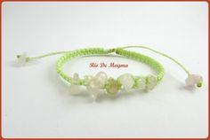 Macrame bracelet. Rose quartz jewelry with spearmint thread. Love stones. Summer bracelet. Mint gree