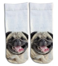 Laughing Pug  Barely Show Socks