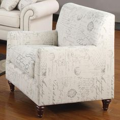 Norah Accent Arm Chair with French Script Pattern by Coaster - Coaster - Upholstered Chair--for keeping room seating