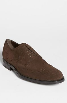 $525, Tod's Derby Suede Wingtip Brown Suede 12us 11uk. Sold by Nordstrom. Click for more info: https://lookastic.com/men/shop_items/220549/redirect