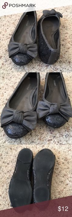 Cute Flats Glitter flats with faux leather bow. Gently used condition. Graceland Shoes Flats & Loafers