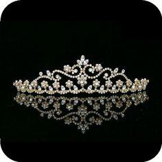 Gold Wedding Bridal Crystal Pearl Crown Tiara