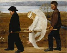 The Wounded Angel, Ateneum, Helsinki Hugo Simberg . Descriptiopn from Wiki: 'The Wounded Angel (Finnish: Haavoittunut enkeli) is a painting by Finnish symbolist painter Hugo Simberg. Georg Christoph Lichtenberg, Guernica, Arte Pop, Angels And Demons, Fallen Angels, Fine Art, Les Oeuvres, Art Museum, Art History