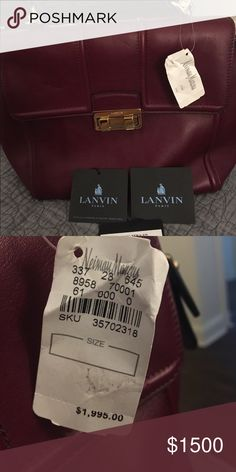 Lanvin Handbag Maroon Lanvin Handbag, with top handle & shoulder strap, with gold accents. Brand new with tags Lanvin Bags Totes