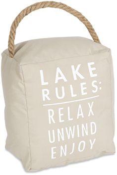 Open Door Decor - Lake Rules: Relax Unwind Enjoy Tan Door Stopper Book End